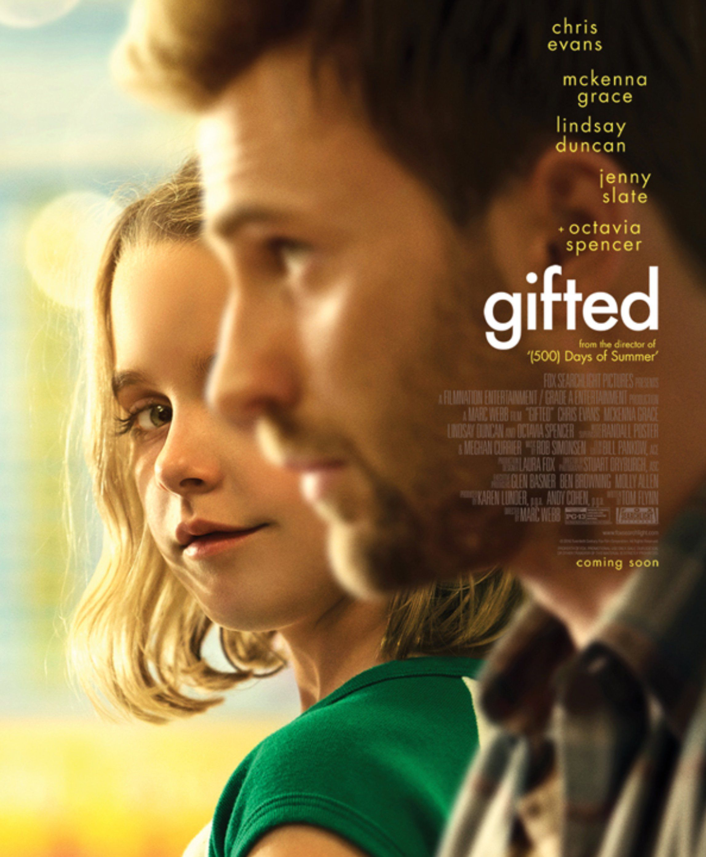 Gifted il Dono del Talento - Chris Evans - McKenna Grace - Lindsay Duncan - Jenny Slate - Octavia Spencer - film poster  Mary