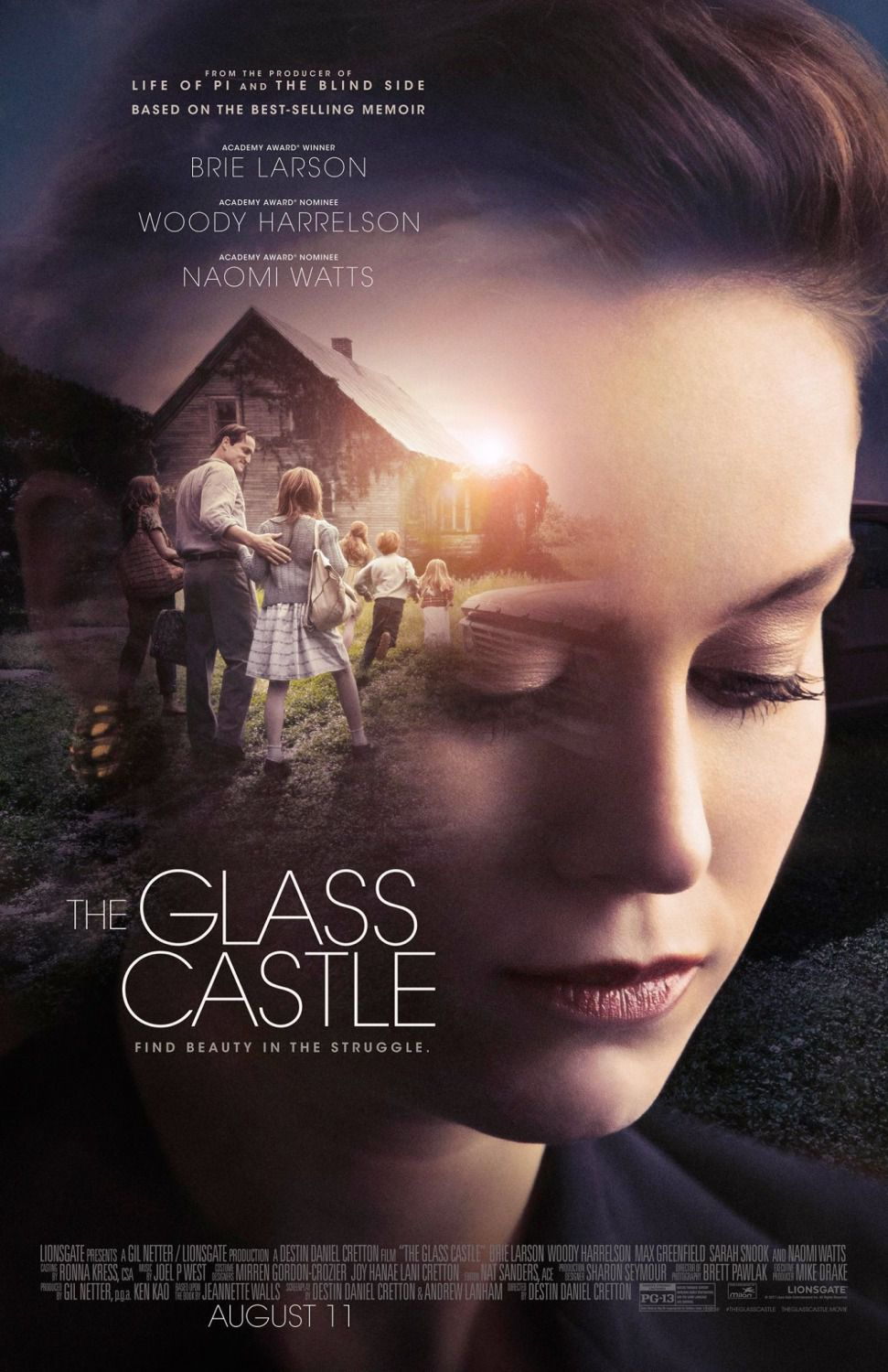 Glass Castle - home goes wherever we go - Brie Larson - Woody Harrelson - Naomi Watts - film poster