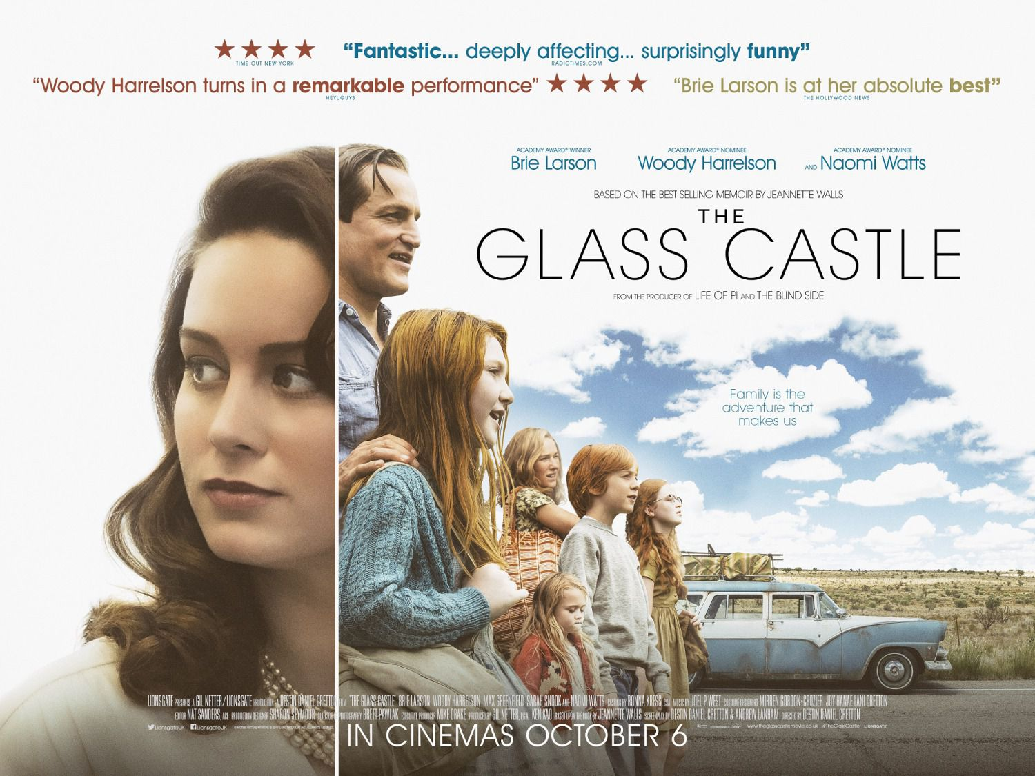 Glass Castle - film poster - Brie Larson - Naomi Watts - Woody Harrelson - Max Greenfield