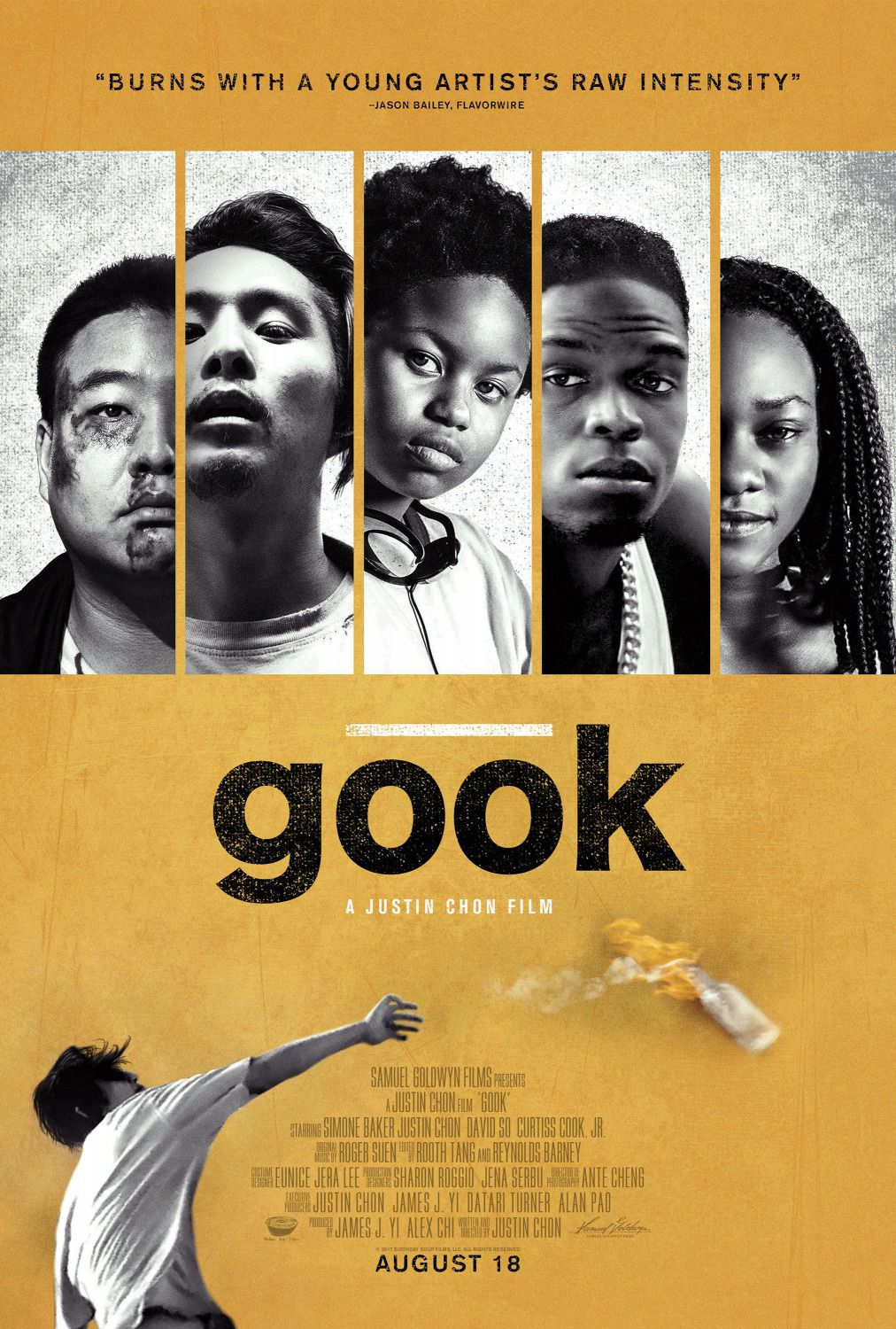 Gook - burns with a young artist's raw intensity - a Justin Chon film with Simone Baker - David So - Curtis Cook Jr - poster
