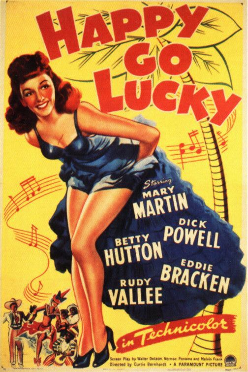 Happy go Lucky (1943) - Musical - Mary Martin - Dick Powell - Betty Hutton - Eddie Bracken - Rudy Vallee - classic old cult film poster