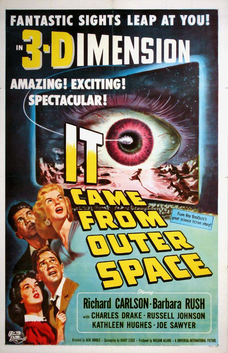 It came from outer Space - old classic scifi fantgascienza poster - Fantastic sights leap at you - 3-Dimensione - Great Science Fiction story - Richarda Carlson - Barbara Rush - Charles Drake - Russell Johnson - Kathleen Hughes - Joe Sawyer