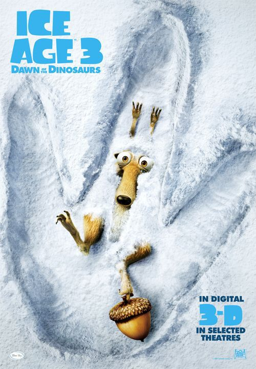 Ice Age 3 - Alba dei Dinosauri (Dawn of the Dinosaurs) - film poster Scrat impronta fingerprint