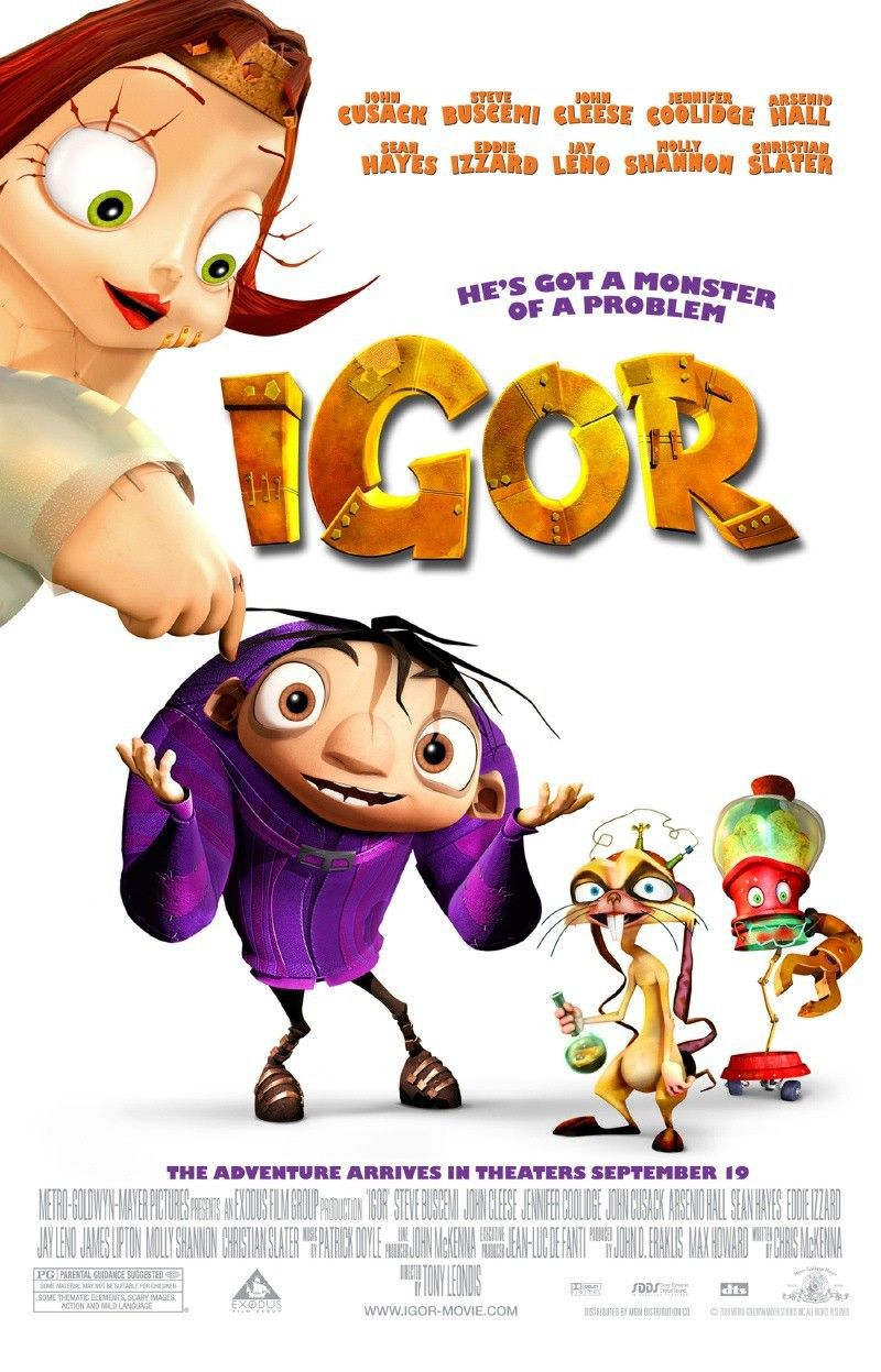 iGor - animated cartoon film poster - John Cusack - Steve Buscemi - John Cleese - Jennifer Coolidge - Arsenio Hall - Sean Hayes - Eddie Izzard - Jay Leno - Molly Shannon - Christian Slater