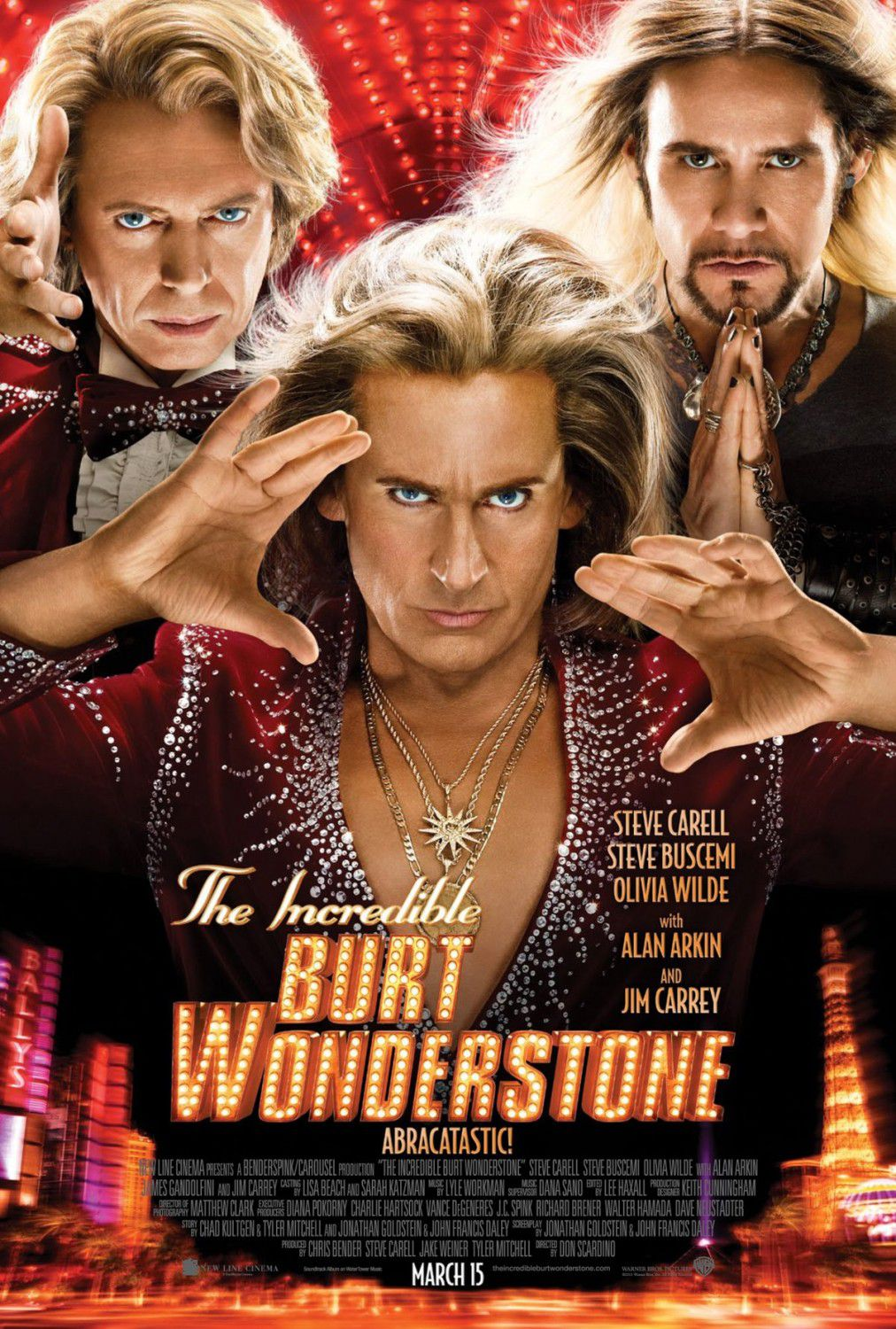 Incredible Burt Wonderstone - film poster - magic and illusion - Steve Carell - Steve Buscemi - Olivia Wilde - Alan Arkin - Jim Carrey ... Abracatastic! Abracastic!