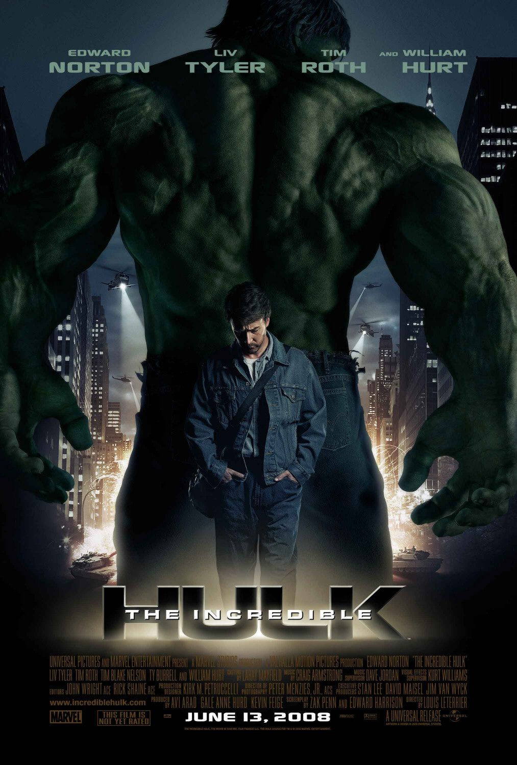 Hulk - Incredible Hulk - poster  - Edward Norton - Liv Tyler - Tim Roth - William Hurt