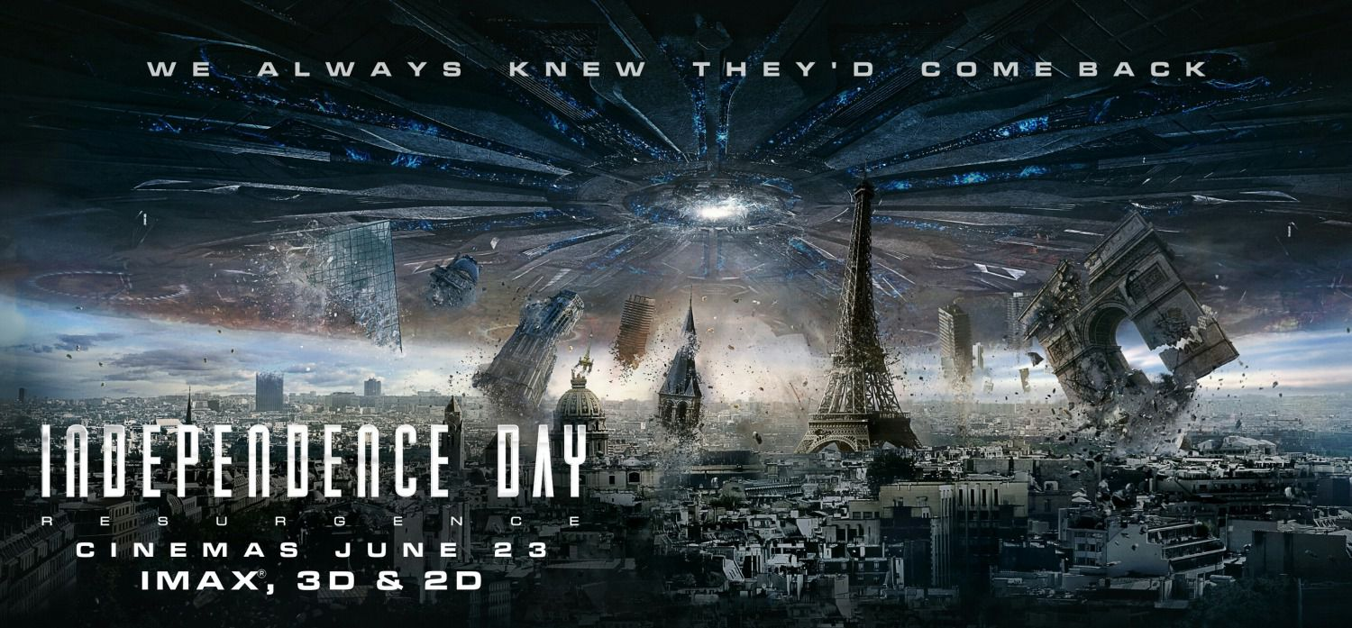 Independence Day Resurgence - film banner city invasion Paris Parigi