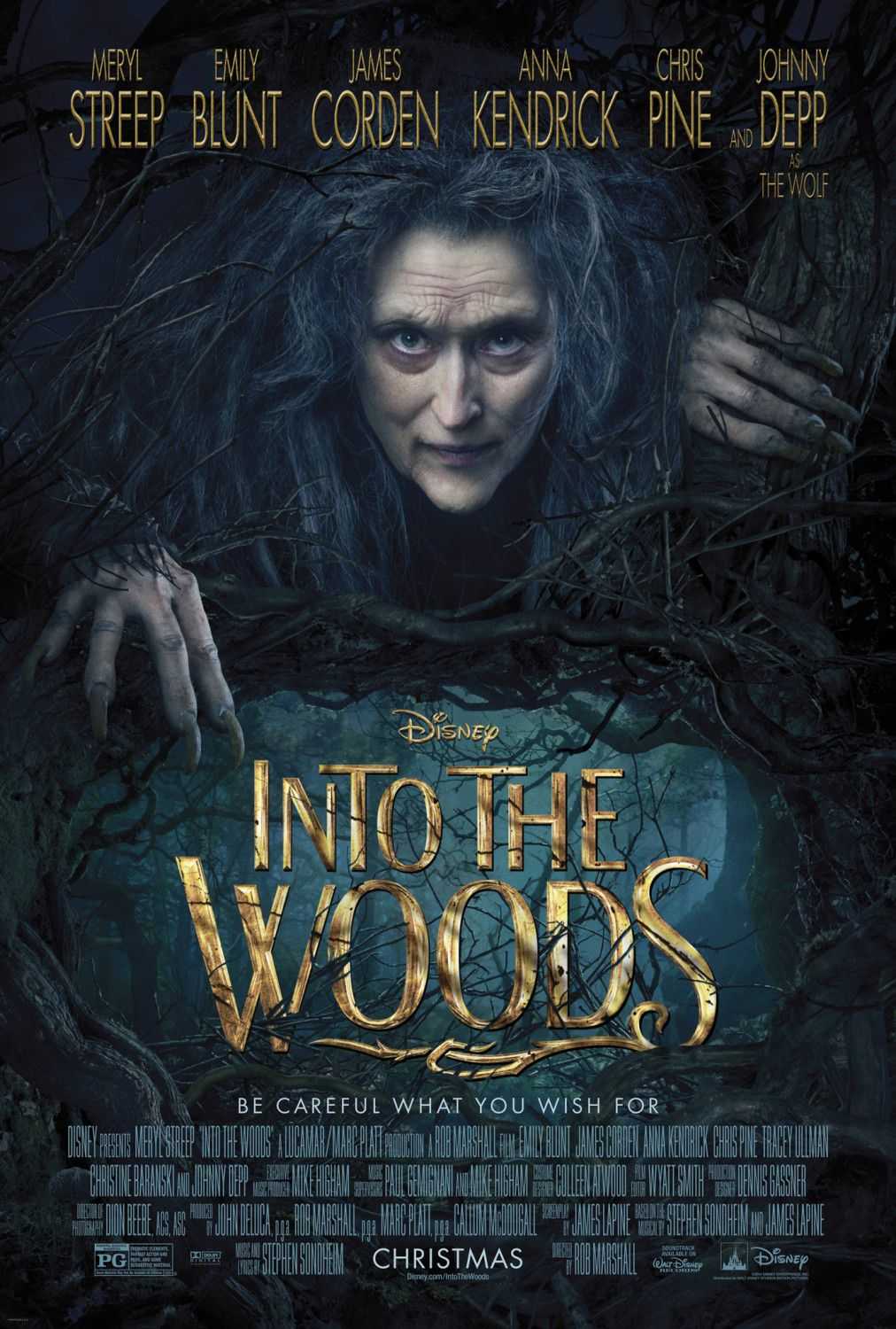 Into the Woods - poster - Meryl Streep - Emily Blunt - James Corden - Anna Kendrick - Chris Pine - Johnny Deep as the Wolf ... be careful what you wish for