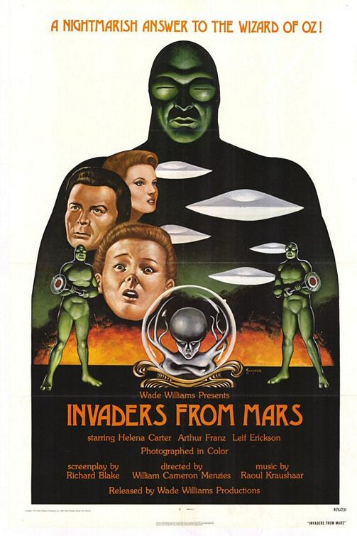 Wade Williams presents Invaders from Mars - 1953 cult scifi film poster classic science fiction fantascienza - starring Helena Carter - Arthur Franz - Leif Erickson