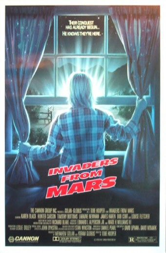 Invaders from Mars - remake 1986 - film science fiction cult classic poster fantascienza