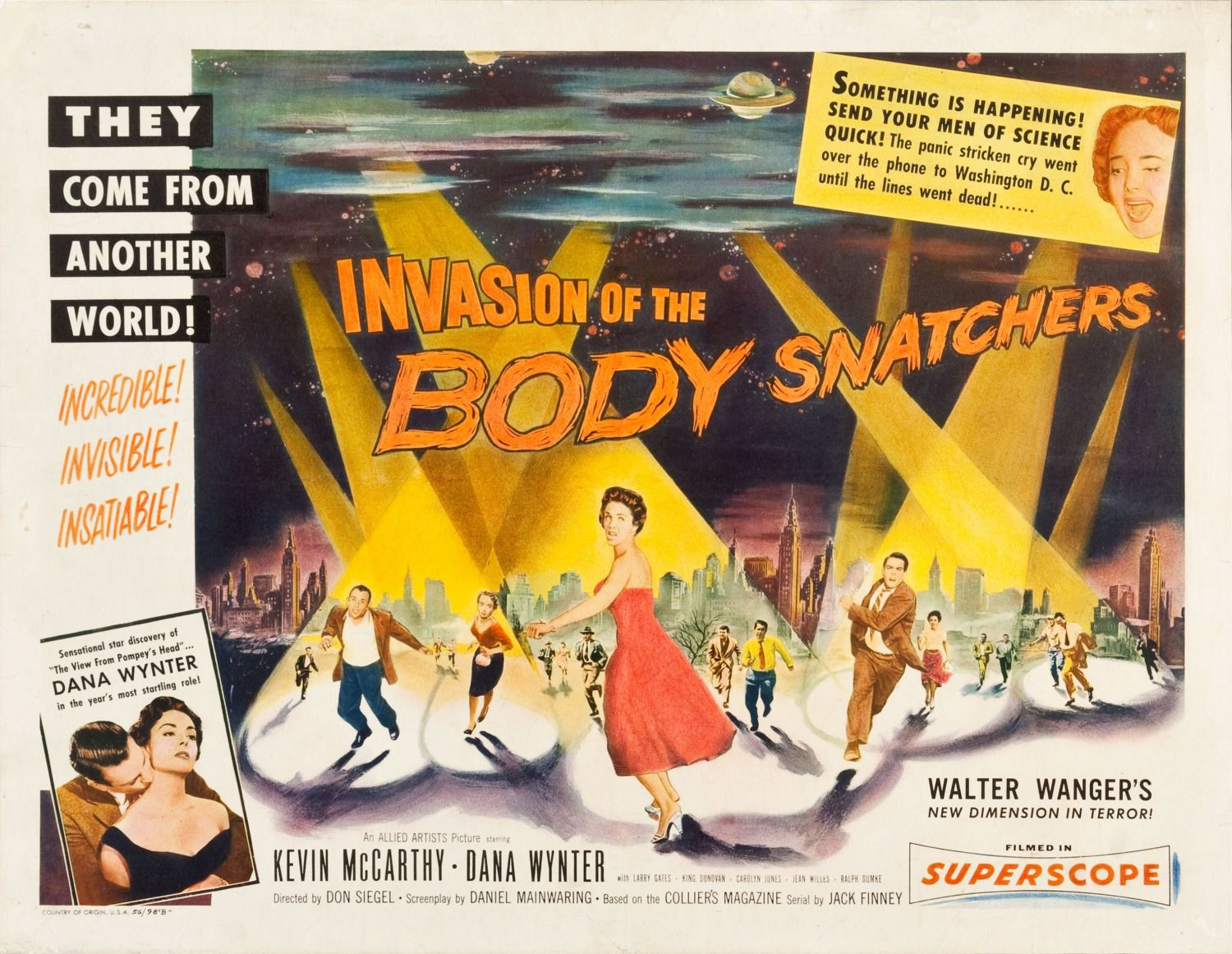 Invasion of the Body snatchers - Invasione Ultracorpi - 1956 - They come from another World - Allied Artists Picture starring Kevin McCarthy and Dana Wynter - Larry Gates - King Donovan - Carolyn Jones - Jean Willes - Ralph Sumke - Directed by Don Siegel - classic scifi science fiction movie film poster - fantascienza cult