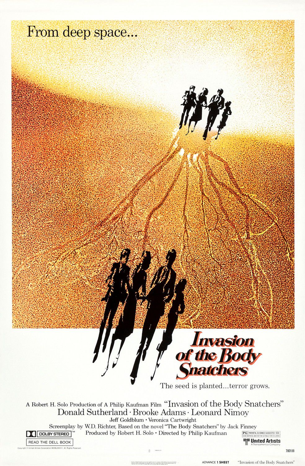 Invasion of the Body snatchers - from deep space, the seed is planted, terror grows - A Robert H. Solo production of a Philip Kaufman film - Donald Sutherland - Broke Adams - Leonard Nimoy - Jeff Goldblum - Veronica Cartwright - Invasione Ultracorpi - remake 1978 - classic scifi science fiction fantascienza movie film poster cult cinema
