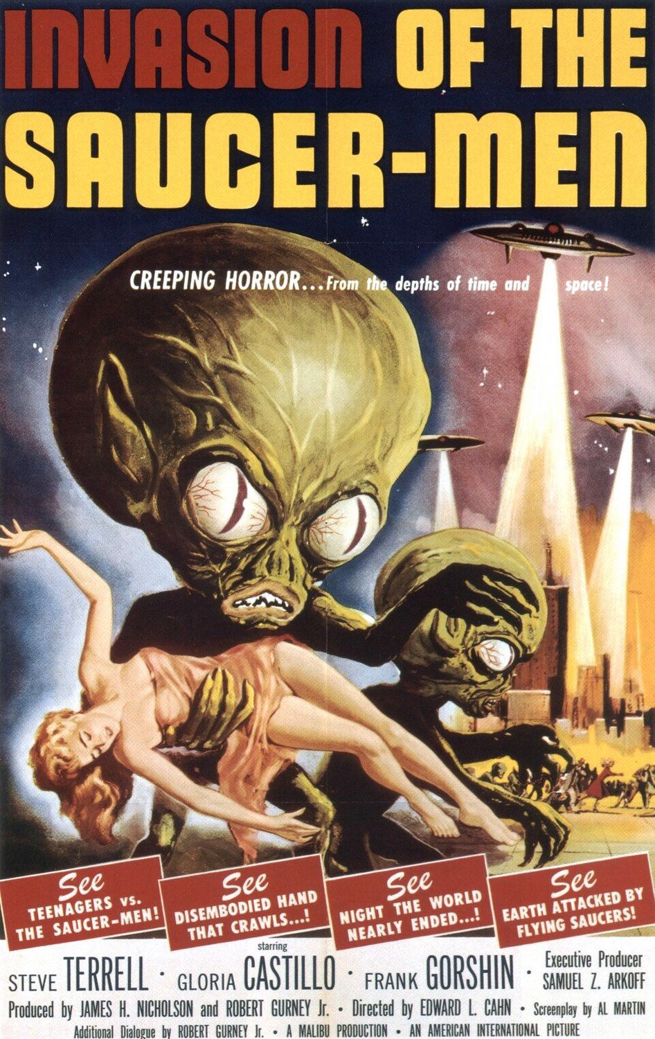 Old Classic Film - Invasion of the Saucer Men - Invasori da un altro Mondo (1957) - Steve Terrell - Gloria Castillo - Frank Gorshin - produced by James H. Nicholson and Robert Gurney Jr. Directed by Edward L. Cahn