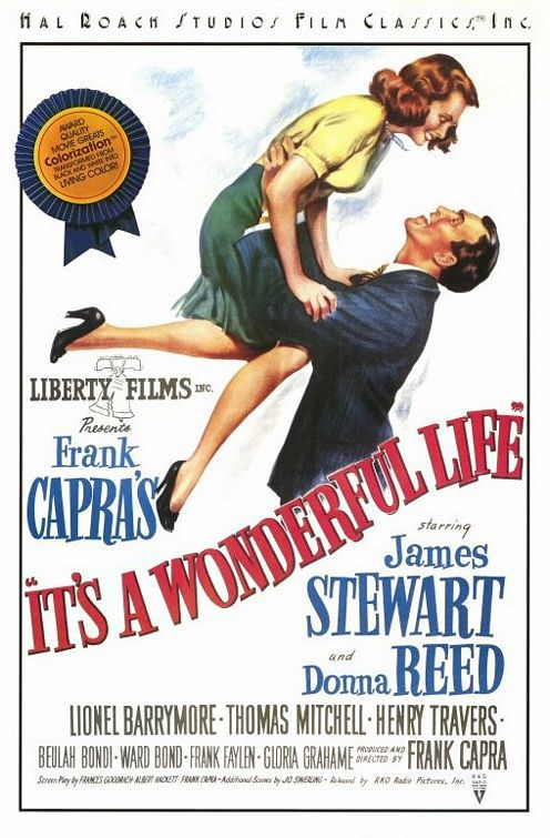 Its a Wonderful Life - La Vita e Meravigliosa - old black and white classic film - poster - James Stewart and Donna Reed