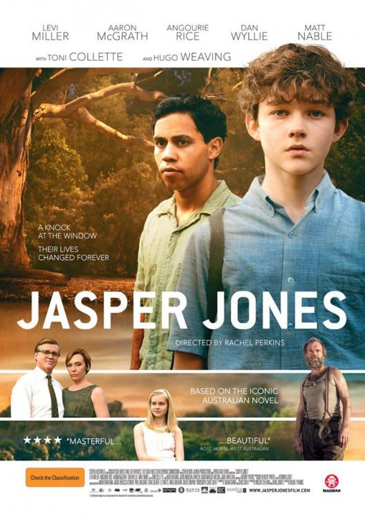 Jasper Jones - film poster - Levi Miller - Aaron McGrath - Angourie Rice - Dan Wyllie - Matt Nable - Toni Collette - Hugo Weaving ... a knock at the Window and their lives changed forever