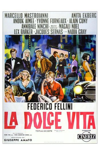 La Dolce Vita di Federico Fellini  - old movie poster - vecchio poster del film