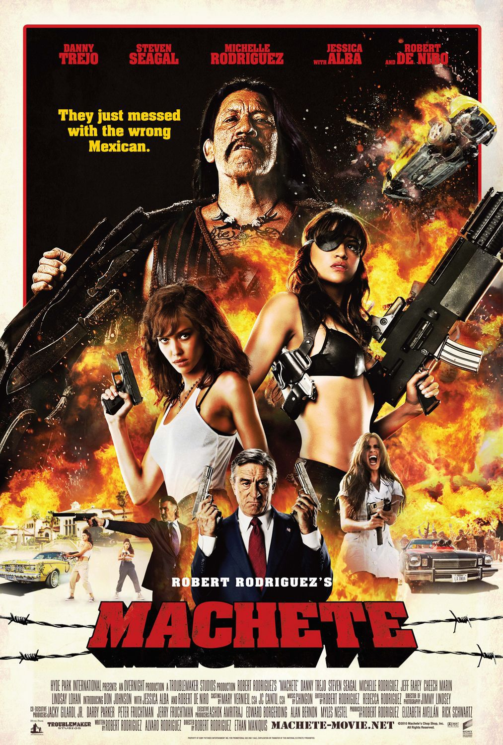 Machete - Live action spallter and fun - Danny Trejo - Steven Segal - Michelle Rodriguez - Jessica Alba - Robert DeNiro ... they just messed with the wrong Mexican ... Robert Rodriguez's Machete
