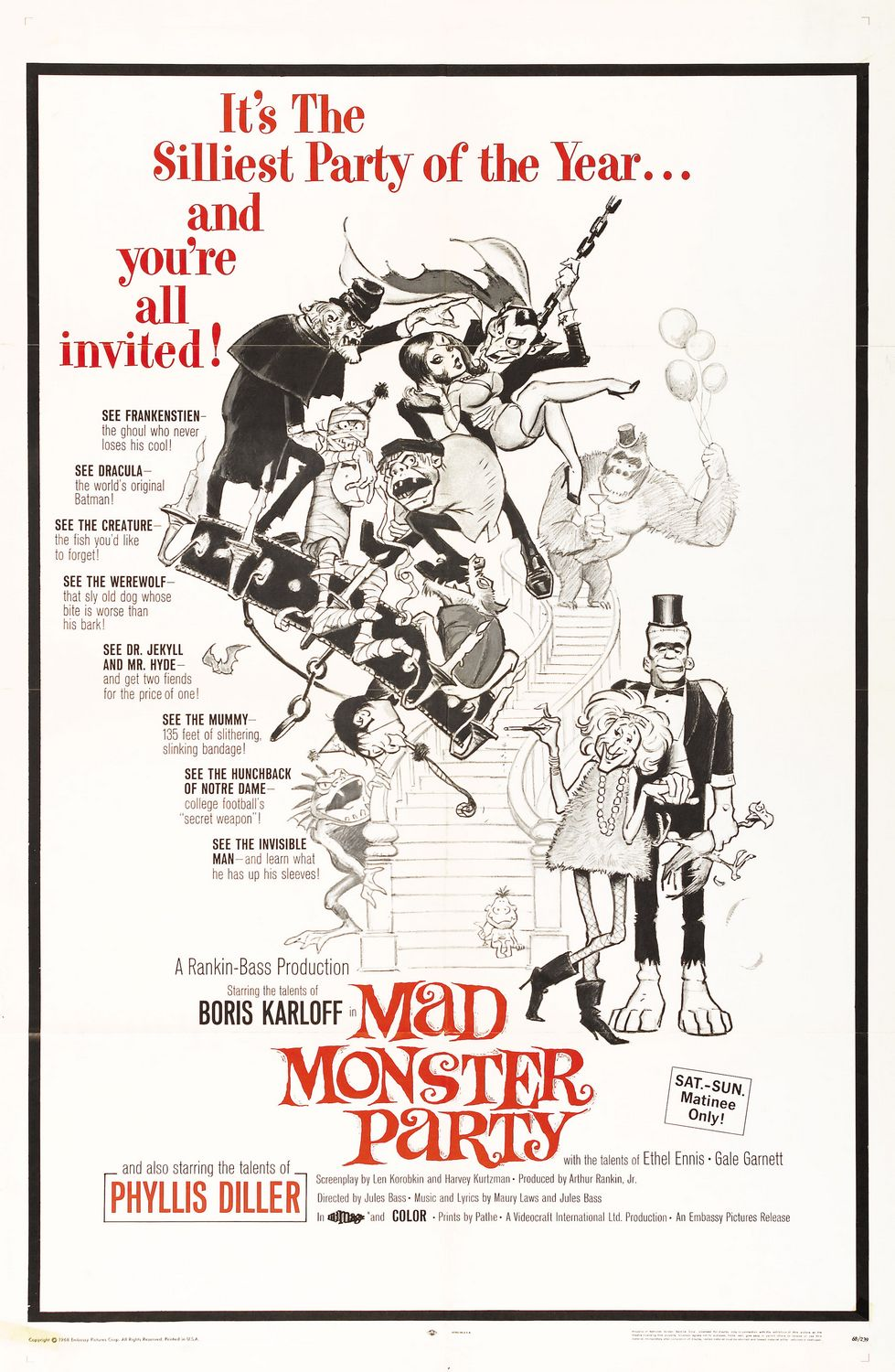 Mad Monster Party - it's the silliest Party of the year and you are all invited, see Frankenstien, See Dracula, see the Creature, see the Werewolf, see Dr. Jekyll and Mr Hyde, see the Mummy, see the Hunchback of Notre Dame, 'see' the Invisible Man  - Boris Karloff - Phyllis Diller - Culp Old Special Film Movie Poster