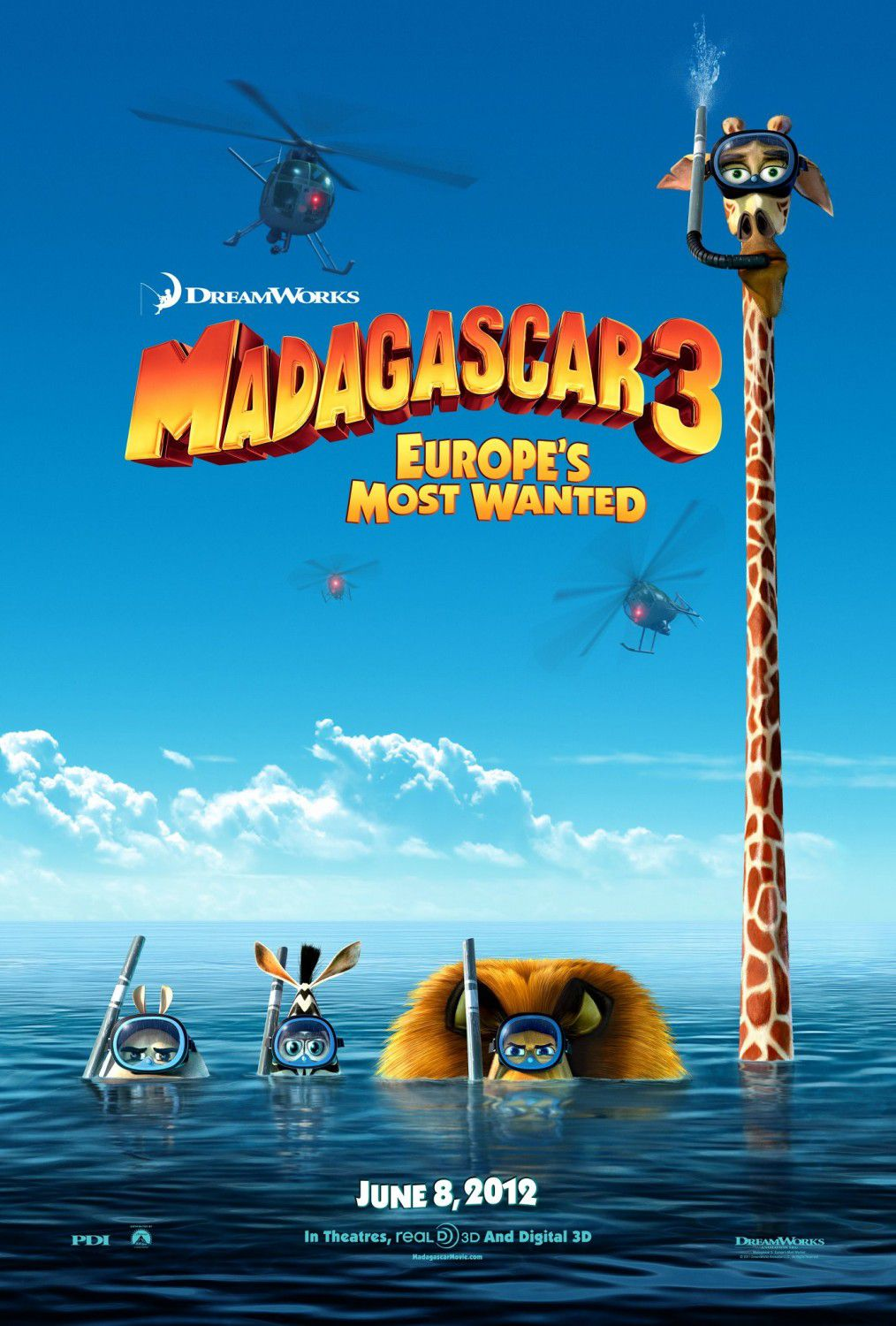 Madagascar 3 - animated film poster - water