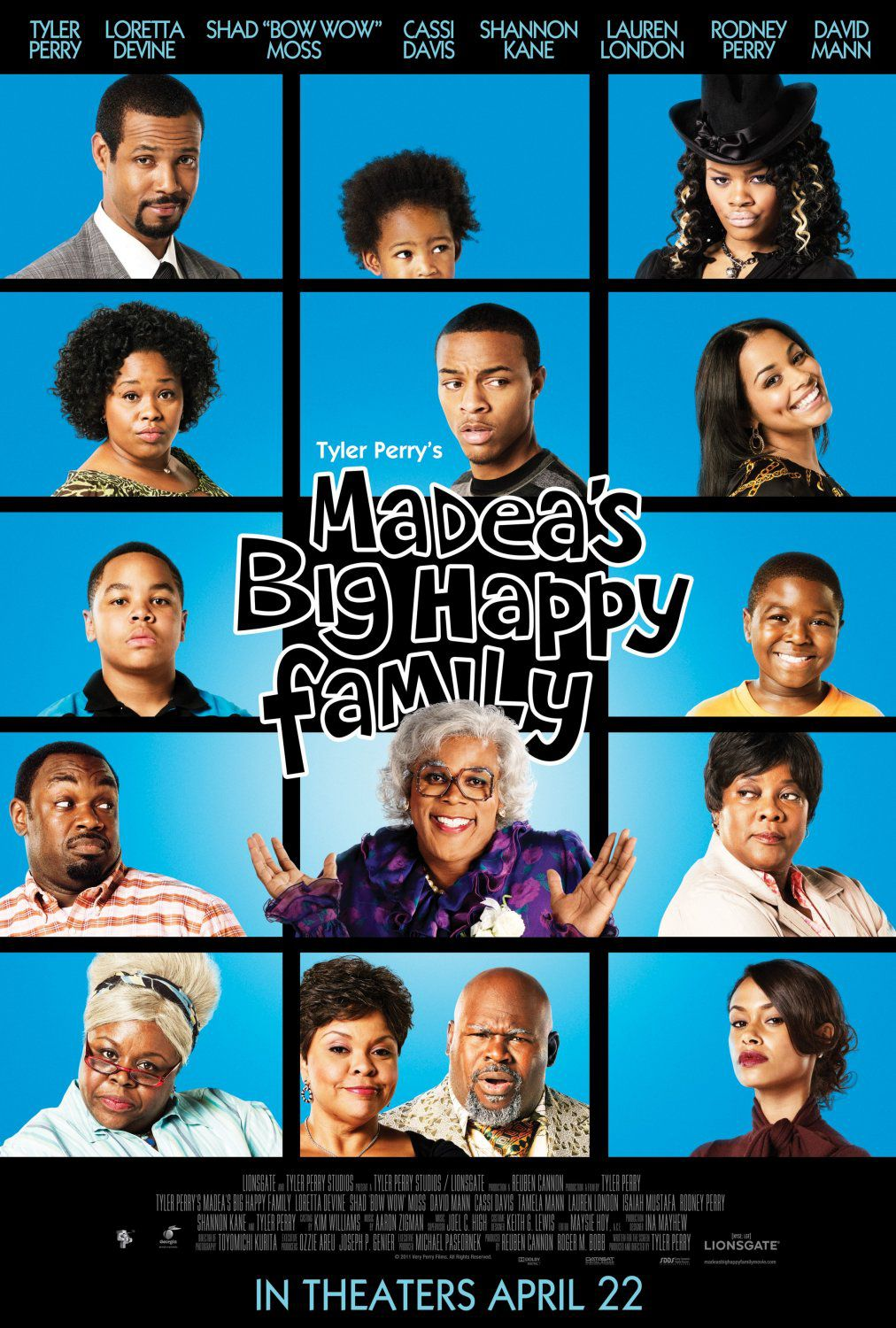"Madeas big Happy Family - Madea Famiglia Felice - Tyler Perry - Loretta Devine - Shad ""Bow How"" Moss - Cassi Davis - Shannon Kane - Lauren London - Rodney Perry - David Mann - film funny poster"