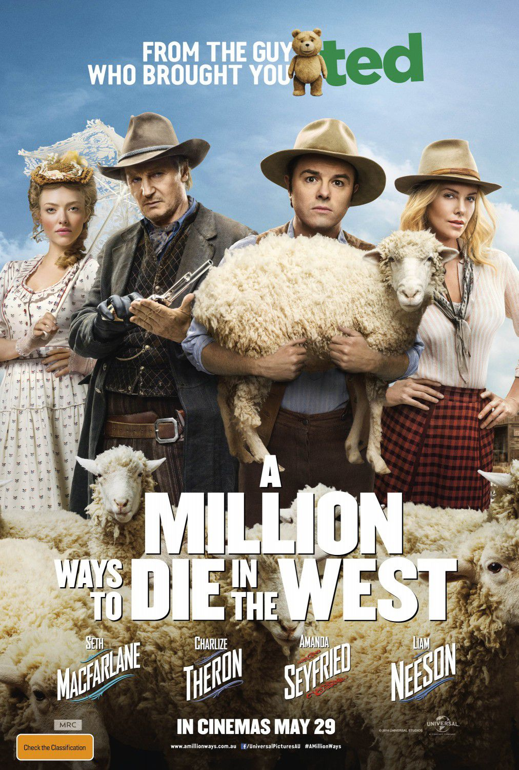 Million ways to Die in the West - Un milione di modi per morire nel West - Seth Macfarlane - Charlize Theron - Amanda Seyfried - Liam Neeson - film poster
