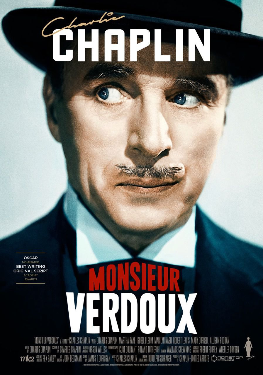 Film - Charlie Chaplin - 1947 - Monsieur Verdoux - Charles Chaplin - Mady Correll - Allison Roddan - Robert Lewis - cult classic old poster