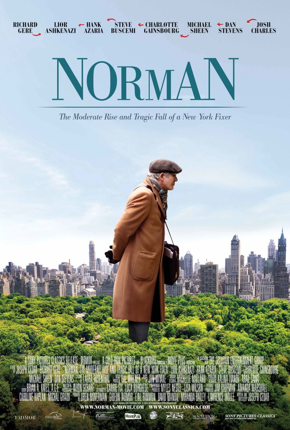 Norman - L'incredibile vita di Norman - the moderate rise and tragic fall of a New York fixer - Lior Ashkenazi - Richard Gere - Michael Sheen - Dan Stevens - film poster 2017