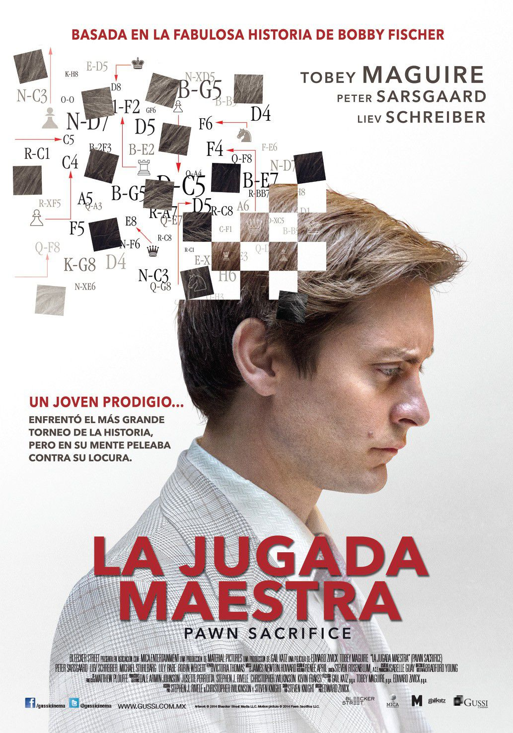 Pawn Sacrifice - La Grande Partita - La Jugada Maestra - True Story of Bobby Fisher - Tobey Maguire - Peter Sarsgaard - Liev Schreiber - film poster