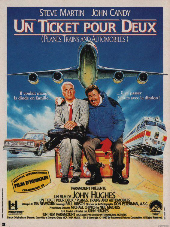 Un Biglietto per Due - Planes Trains and Automobiles - a Ticket pour deux - Steve Martin - John Candy - funny 80s movie film poster