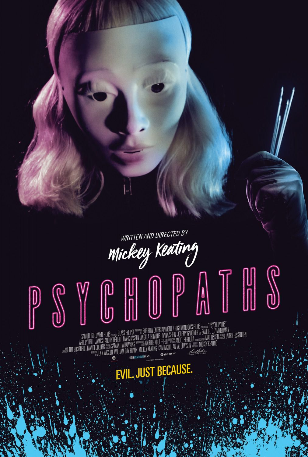 Psychopaths - Jeff Daniel Phillips - Ashley Bell - Angela Trimbur - James Landry - horror film poster - Evil, just Because