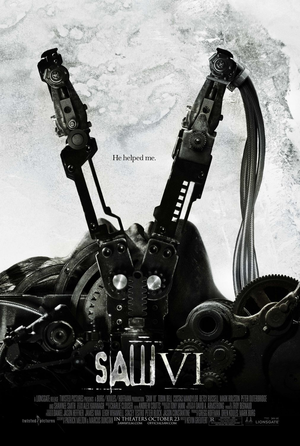 Saw 6 - film poster - Burg - Koules - Hoffman - Tobin Bell - Costas Mandylor - Betsy Russell - Mark Rolston - Peter Outerbridge