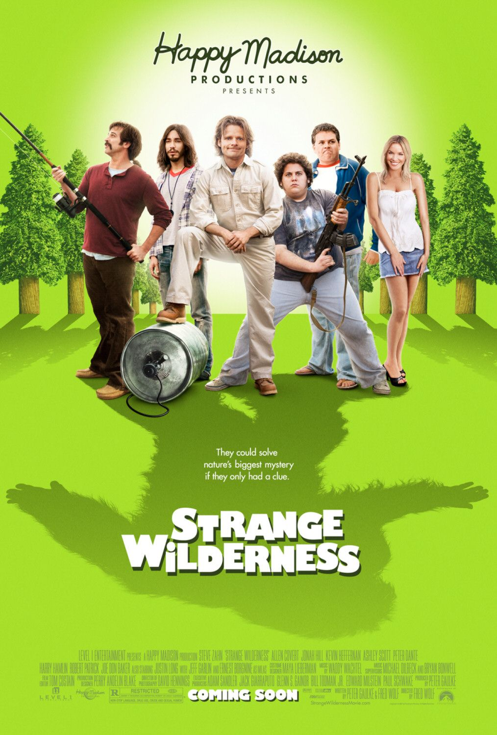Strange Wilderness - they could solve nature's biggest mystery if they only had a clue - Steve Zahn - Allen Covert - Jonah Hill - Kevin Hefferman - Ashley Scott - Peter Dante - Harry Hamlin - Robert Patrick - Joe Don Baker - Justin Long - Jeff Garlin - Ernest Borgnine - film poster