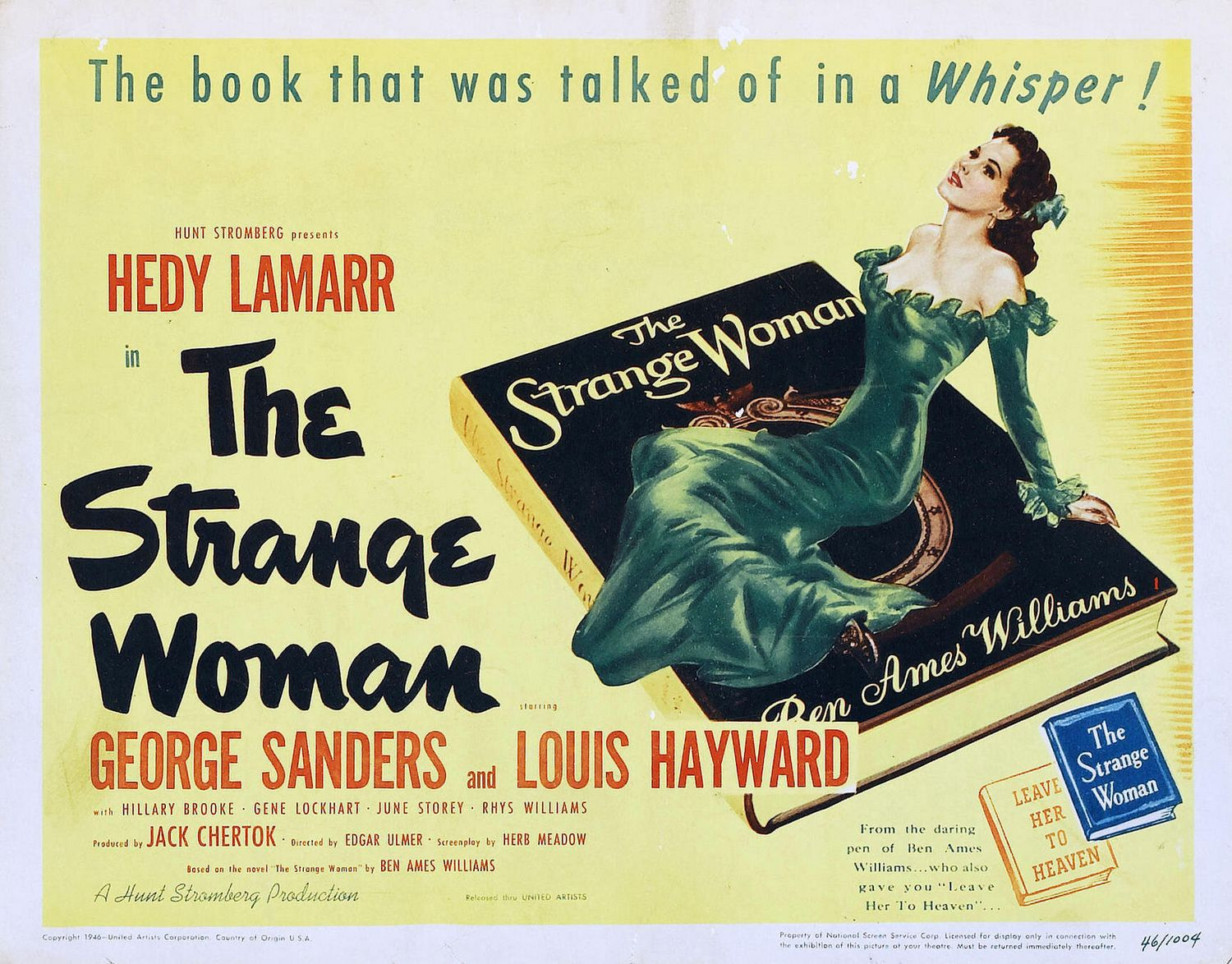 Strange Woman -  the book that was talked of in a qhisper - Hedy Lamarr - George Sanders - Louis Hayward - Hillary Brooke - Gene Lockhart - June Storey - Rhys Williams - old cult film poster