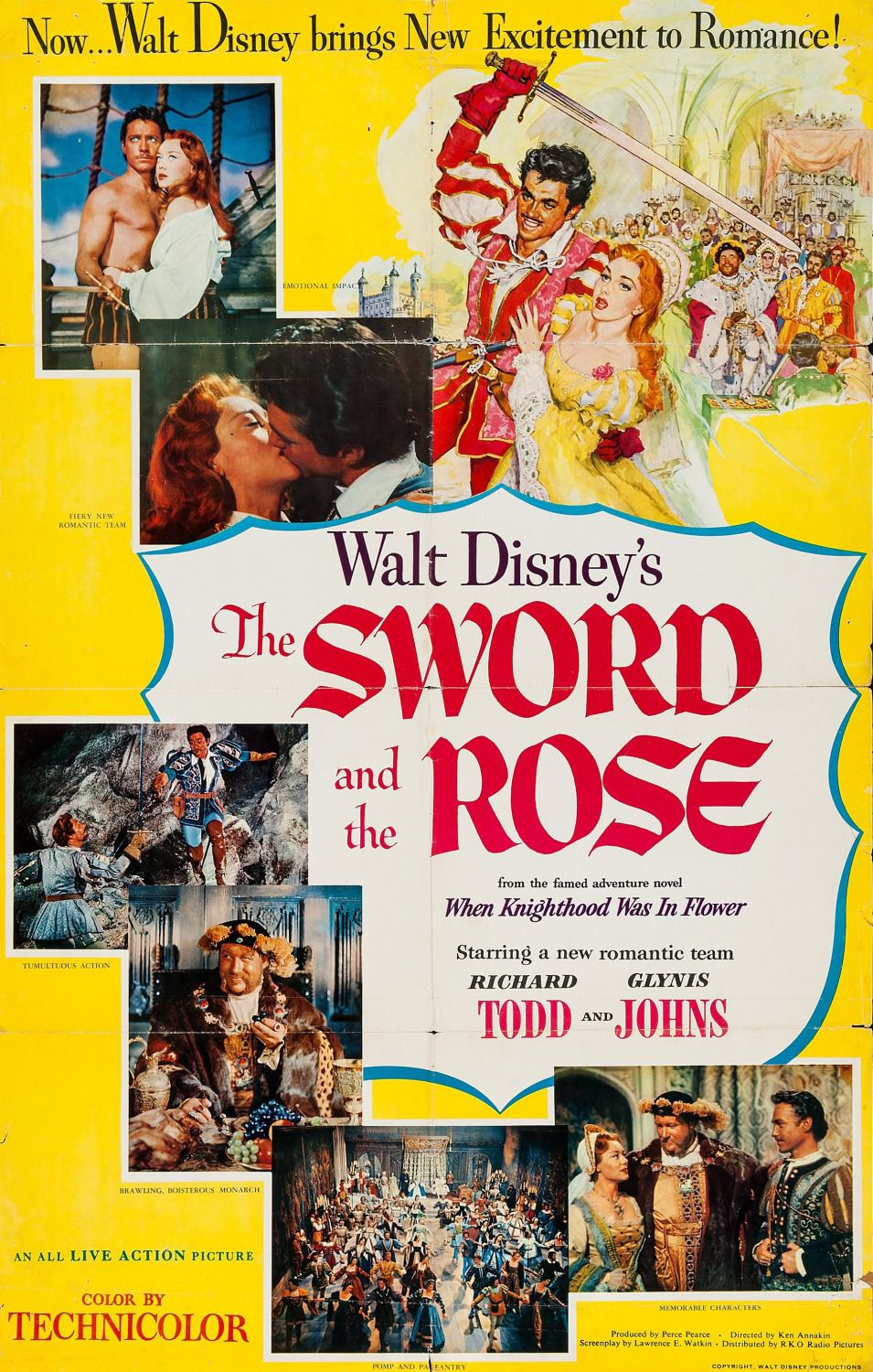 Sword and the Rose - Walt Disney film from the famed adventure novel When Khnighthood was in Flower - starring a new romantic team Richard Todd and Glynis Johns - poster classic old