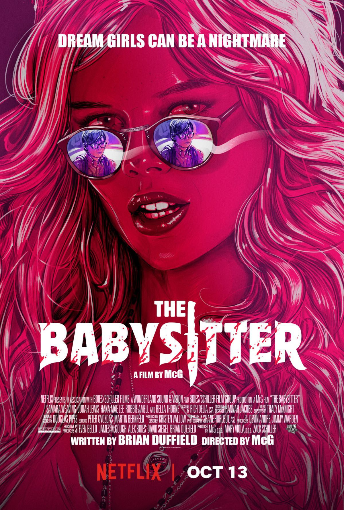 The Babysitter ... dream girls can be a nightmare - Samara Weaving - Judah Lewis - Hana Mae Lee - Robbie Amell - Bella Thorne - Netflix horror film poster