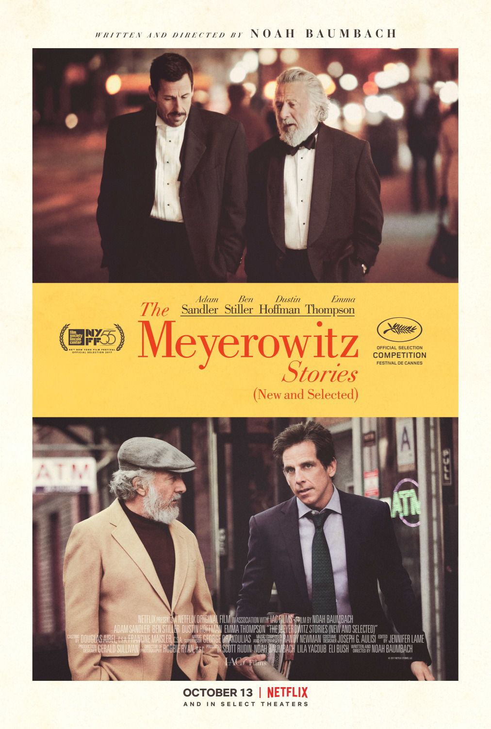 The Meyerowitz stories - Adam Sandler - Ben Stiller - Dustin Hoffman - Emma Thompson - film poster