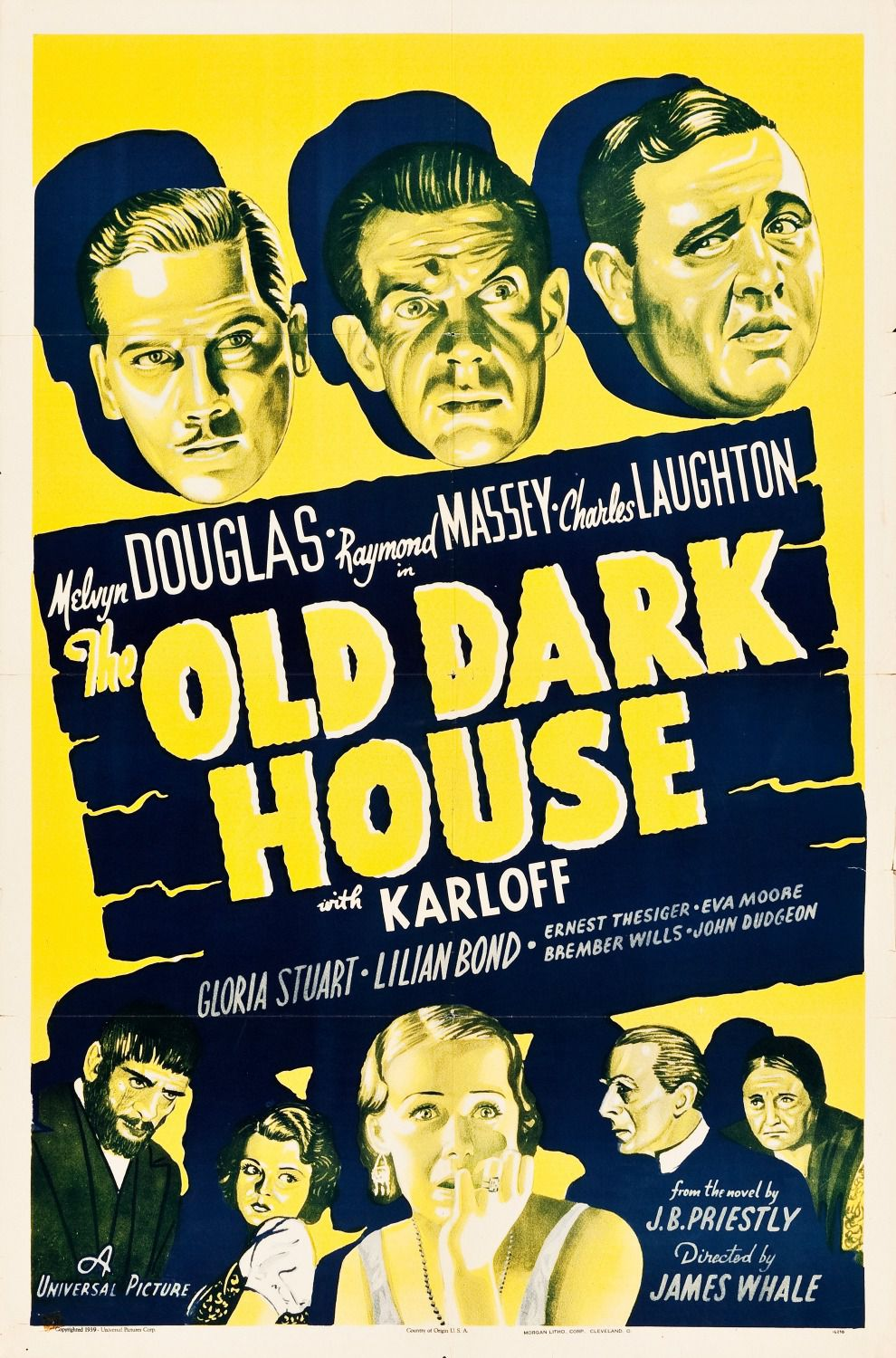 The Old Dark House - 1932 - Melvyn Douglas - Raymond Massey - Charles Laughton - Gloria Stuart - Lilian Bond - Ernest Thesiger - Eva Moore - Brember Wills - John Dudgeon - directed by James Whale - old film poster