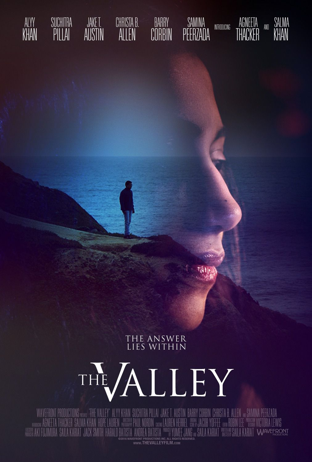 The Valley - The answer lies within - Alyy Khan - Suchitra Pillai - Jake T. Austin - Christa B. Allen - Barry Corbin - Samma Peerzada - Agneeta Thacker - Salma Khan - film poster
