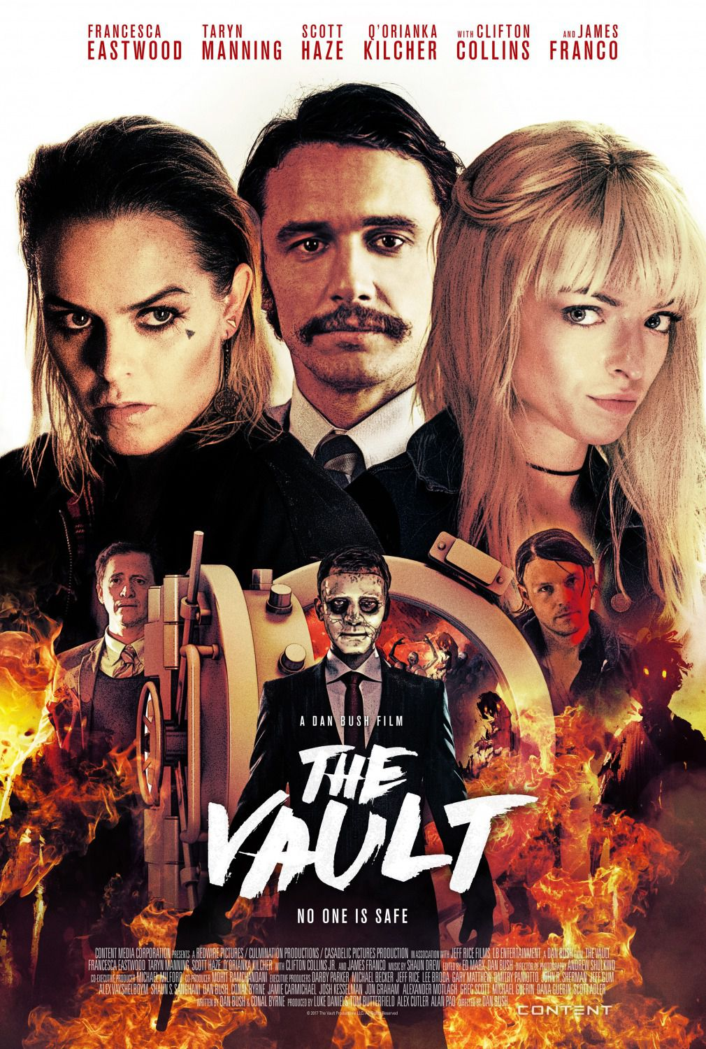 The Vault - film poster - Francesca Eastwood - Taryn Manning - Scott Haze - Q'Orianka Kilcher - Clifton Collins - James Franco