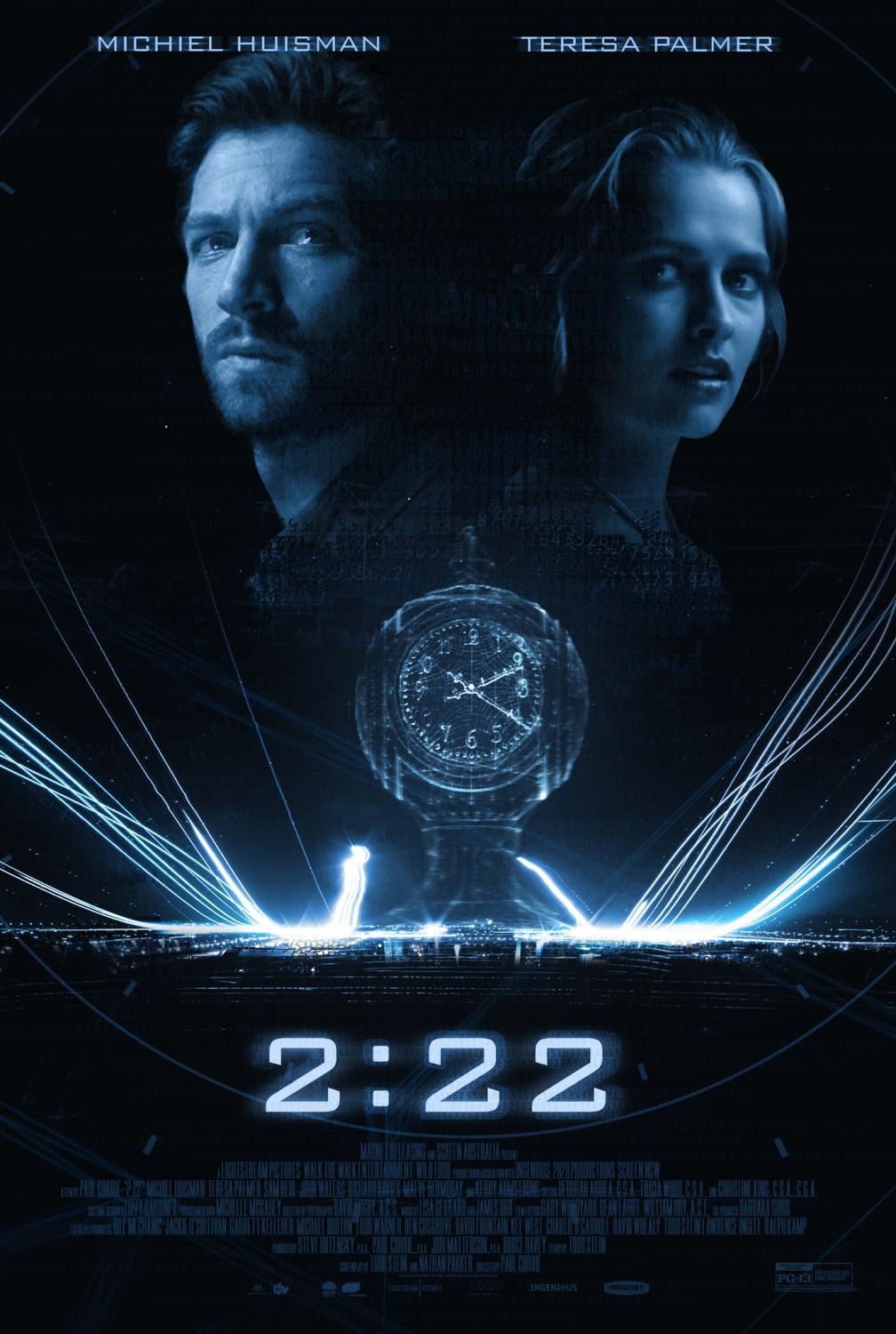 Film 2:22 - 222 two twentytwo - 2 22 - Due Ventidue - time - destiny - poster  - Michiel Huisman -  Teresa Palmer