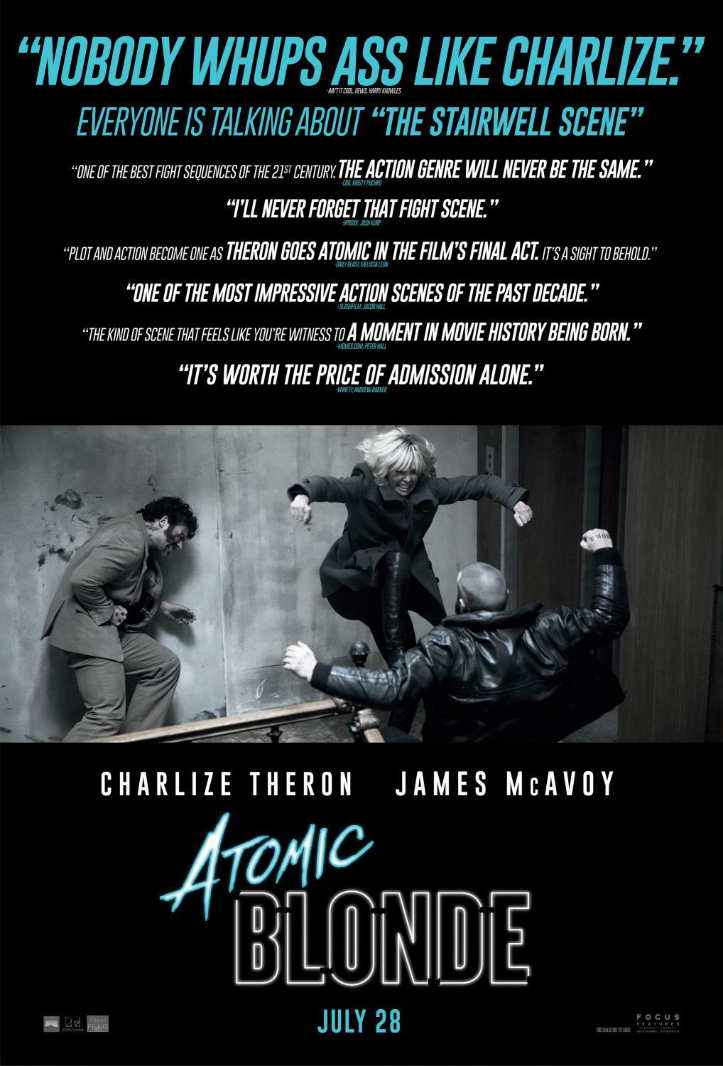 Atomic Blonde - Spy Story Film - Charlize Theron - poster - Nobody whups ass like Charlize - James McAvoy