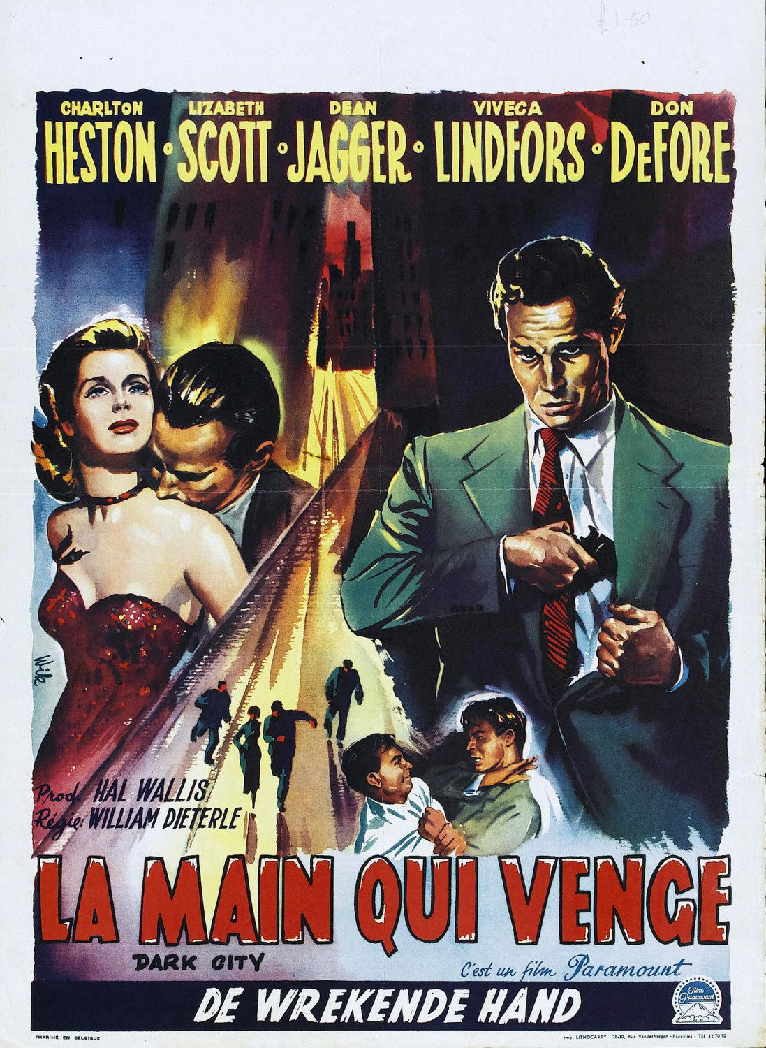 Dark City - la main qui venge - film 1950 - 50s - old poster - Charlton Heston - Lizabeth Scott - Viveca Lindfors