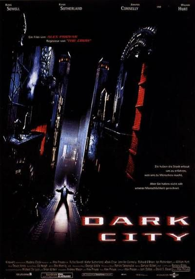 Film poster - Dark City - Rufus Sewell - Kiefer Sutherland - Jennifer Connelly - William Hurt