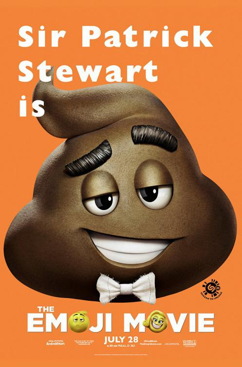 Emoji - Emoticon animated movie - Sir Patrick Stewart - shit - poster