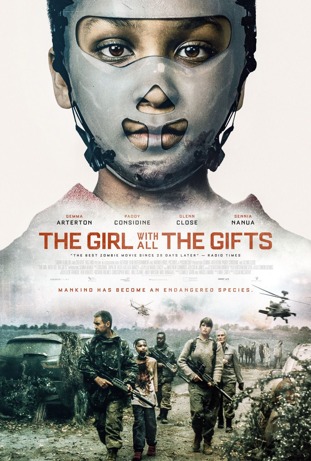 Girl with all the Gifts - poster - Gemma Arterton - Paddy Considine - Glenn Close - Sennia Nanua - base on the best selling novel by M.R. Carey