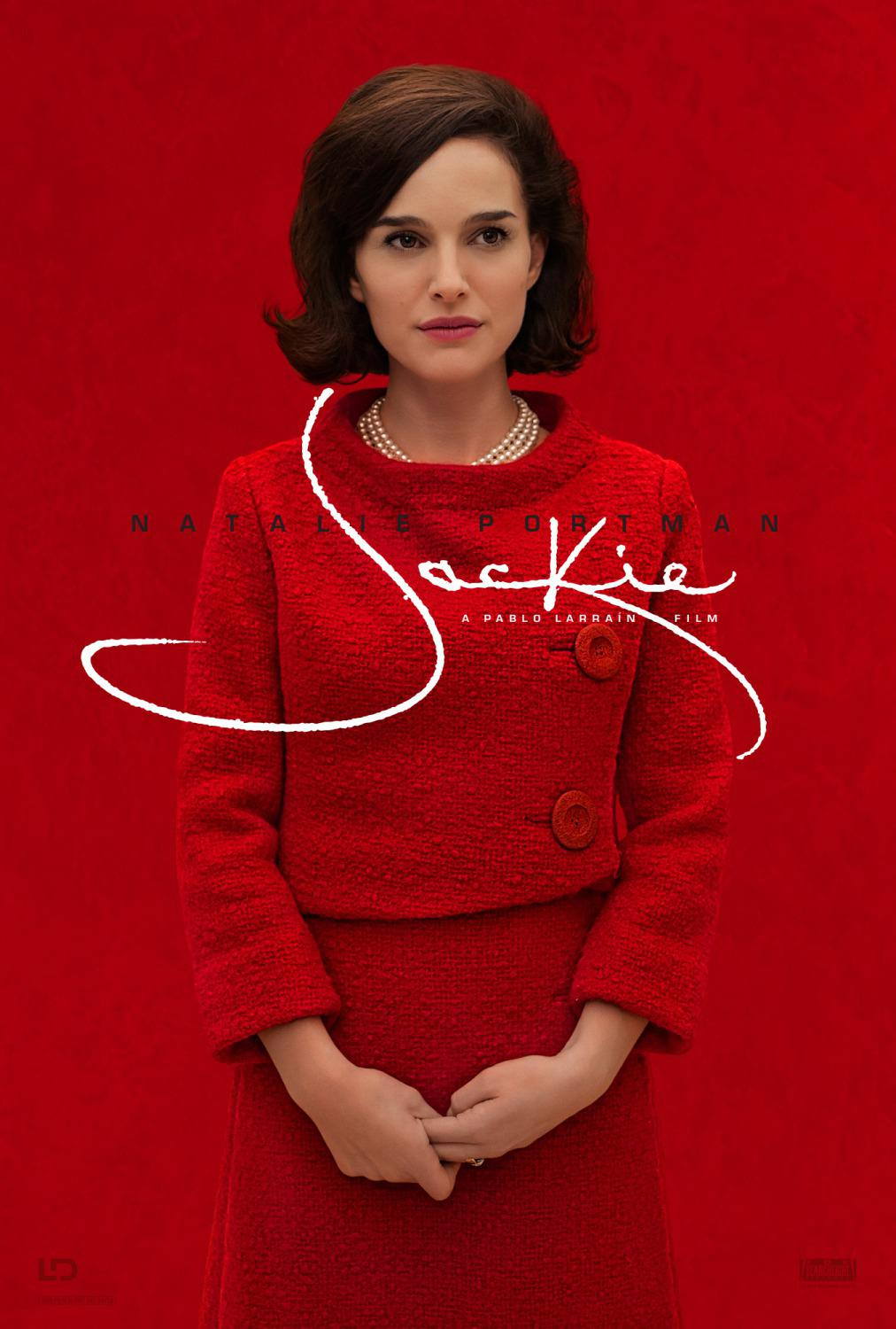 Film - Jackie (Natalie Portman) - first Lady - JFK - poster  - red dress