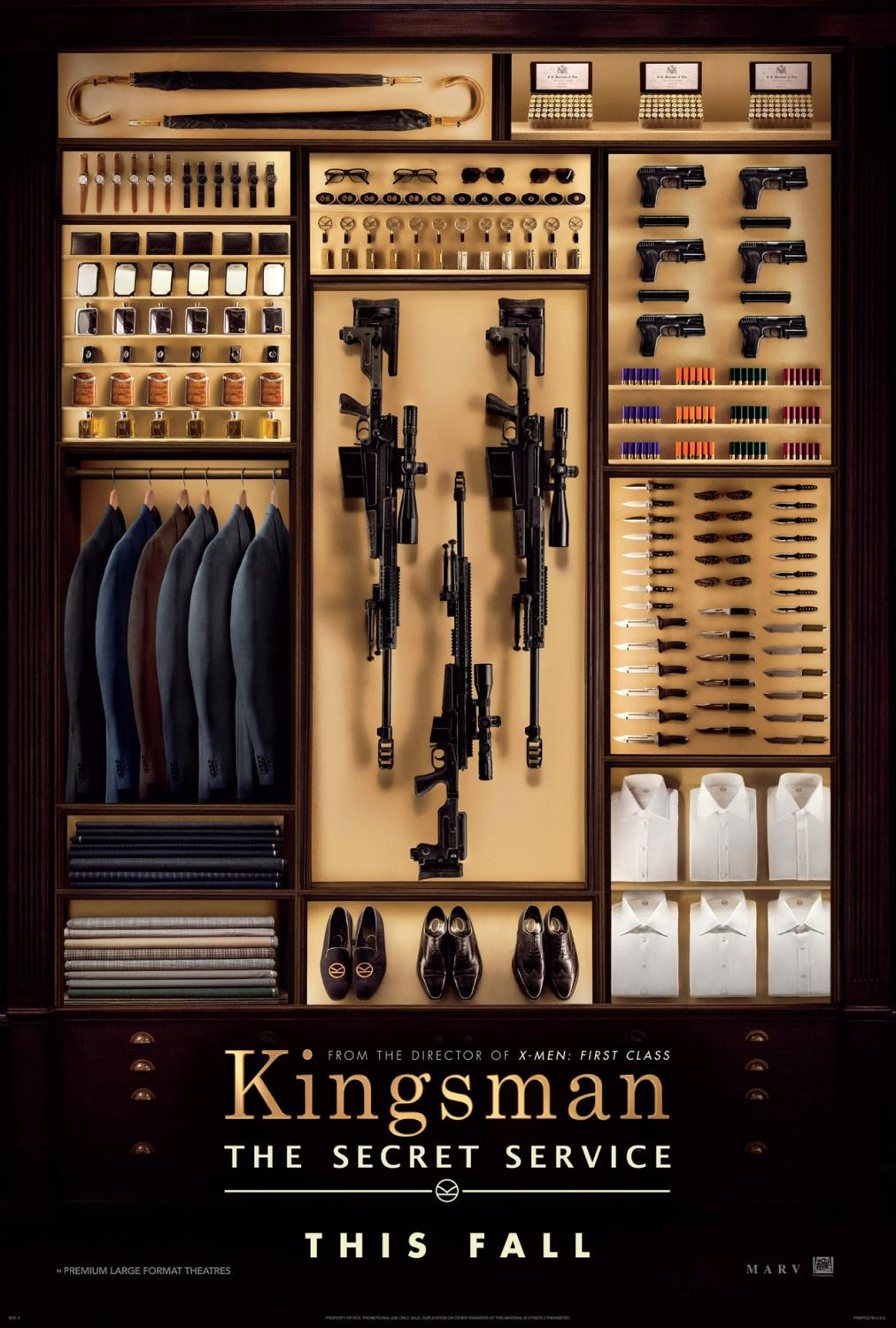 Kingsman 1 - the Secret Service - guns poster  - wardrobe