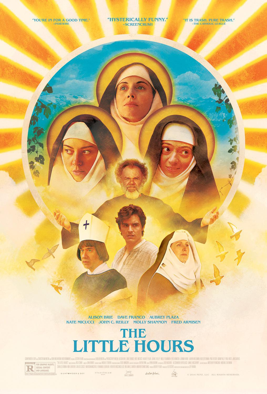Little Hours - Obedientia - Paupertas - Alison Brie - Dave Franco - Kate Micucci - Aubrey Plaza - John C. Reilly - Molly Shannon - Fred Armisen - film by Jeff Baena - poster