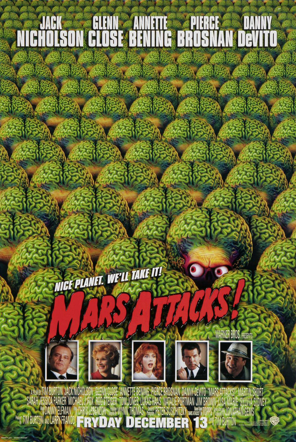 Mars Attacks - film poster - green brains