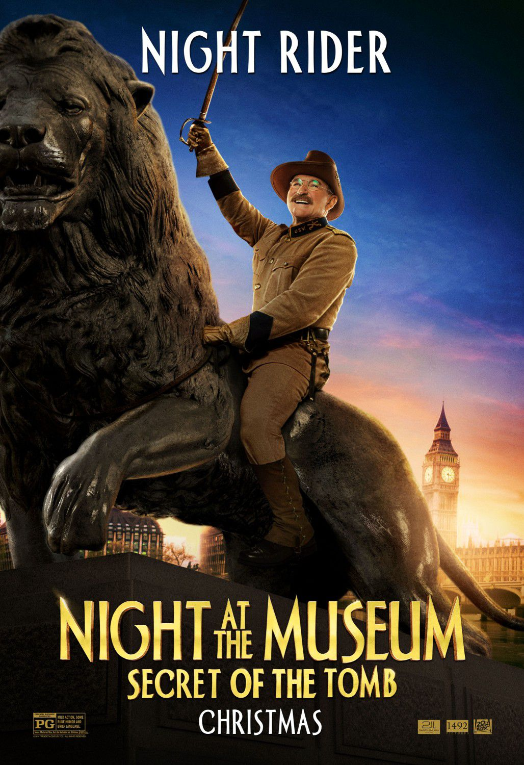 Una Notte al Museo 3 - Night at the Museum 3 - Secret of the Tomb - poster - night rider - Teddy Roosevelt (Robin Williams)